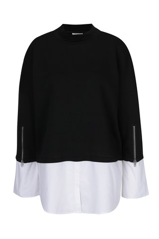 Bluza lunga negru cu alb cu aspect 2 in 1 Noisy May Saga