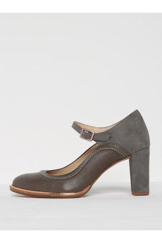 Pantofi gri din piele naturala cu bareta -  Clarks Ellis Mae