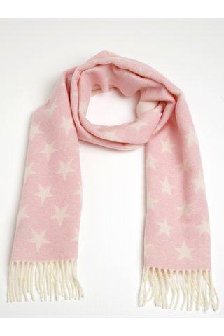 Esarfa roz & alb din lana cu imprimeu pentru femei -  GANT