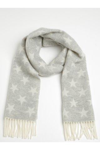 Esarfa din lana gri & alb pentru femei - GANT