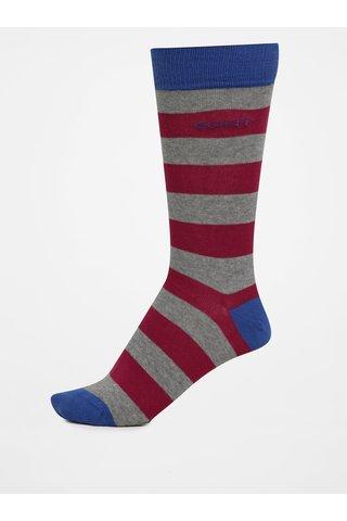 Růžovo-šedé pánské pruhované ponožky GANT