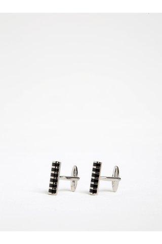 Butoni metalici argintiu cu negru cu dungi Dice