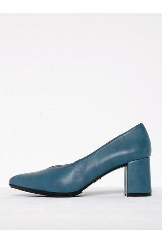 Pantofi albastri cu toc masiv si varf ascutit OJJU