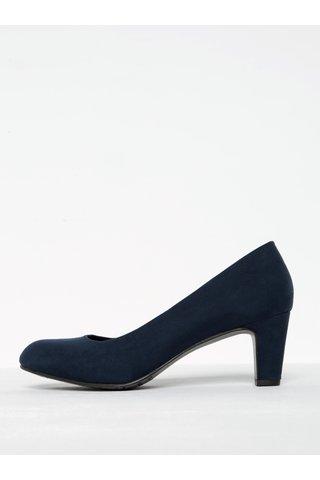 Pantofi bleumarin cu toc si aspect de piele intoarsa Tamaris