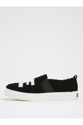 Pantofi slip on negri cu blana artificiala ALDO Loveawen