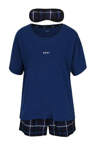Set cadou pijama albastra si masca pentru dormit DKNY