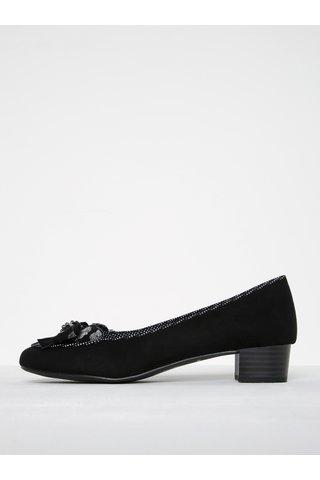 Pantofi negri cu toc scurt si funda -  Ruby Shoo Victoria