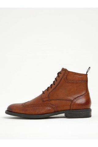 Hnědé pánské kožené kotníkové boty s brogue detaily Vagabond Salvatore