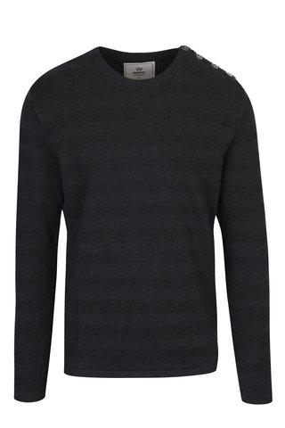 Tmavě šedý vzorovaný svetr se zapínáním na rameni Kronstadt Keld Plain