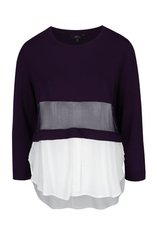Bluza cu camasa mov cu alb 2 in 1- Ulla Popken