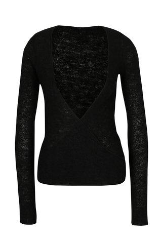 Pulover negru cu amestec de lana DEHA