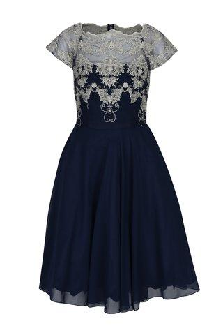 Tmavě modré šaty s krajkovým topem Chi Chi London Riri