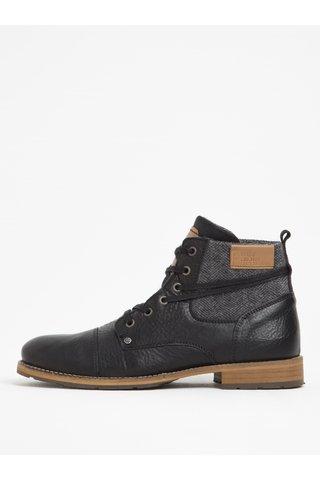 Černé pánské kožené kotníkové boty s textilní vsadkou Bullboxer