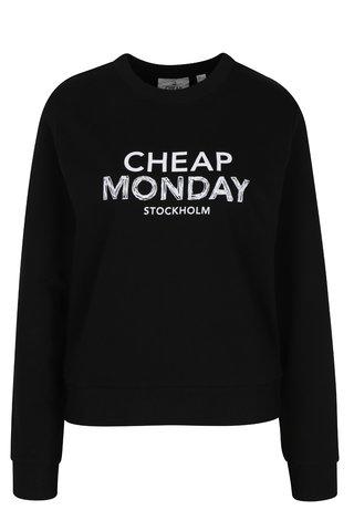 Bluza neagra din bumbac organic si print - Cheap Monday