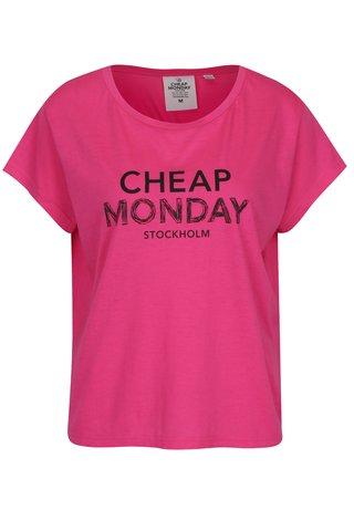 Růžové dámské volné tričko s potiskem Cheap Monday