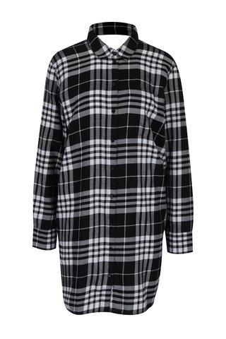 Šedo-černé kostkované volné košilové šaty s průstřihem na zádech Cheap Monday