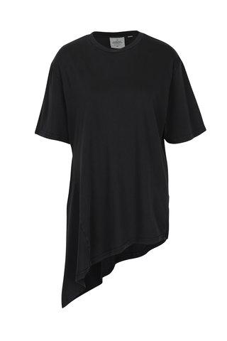 Tricou negru asimetric din bumbac organic pentru femei - Cheap Monday