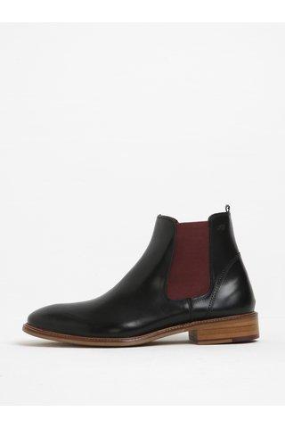 Vínovo-černé kožené chelsea boty London Brogues Hamilton