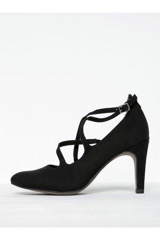 Pantofi negri din piele intoarsa cu bareteTamaris