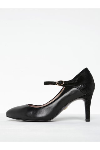 Pantofi negri din piele cu bareta Tamaris