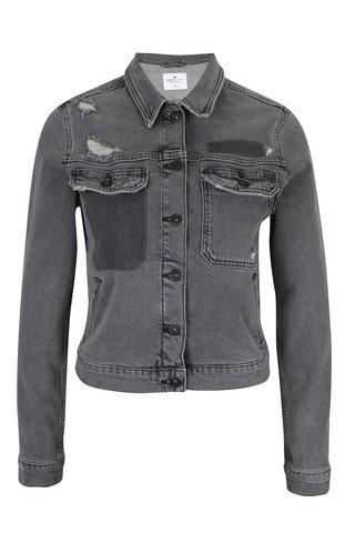 Jacheta din denim gri cu aspect deteriorat Cross Jeans