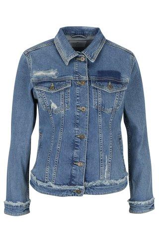 Jacheta albastra din denim cu aspect deteriorat pentru femei Cross Jeans