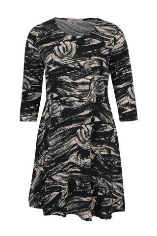 Rochie negru&crem cu print abstract LA Lemon