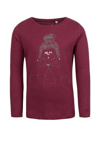 Vínové holčičí tričko s potiskem name it Veen