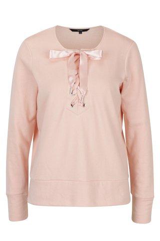 Bluza roz piersica cu funda si slituri VERO MODA Tieme