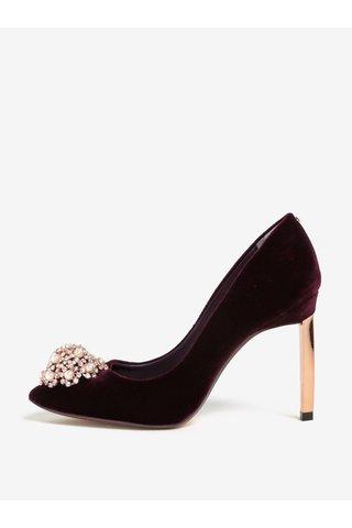 Pantofi bordo cu toc cui si aplicatie decorativa din perle - Ted Baker Peetch