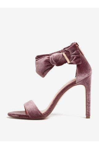 9e395deb98 Růžové sametové sandálky na podpatku s mašlí Ted Baker Torabel