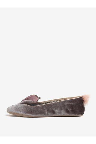 Papuci din catifea gri cu urechi si codita de iepuras - Ted Baker Bellamo