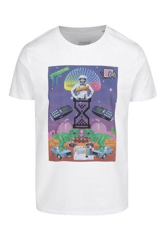 Tricou alb cu print retro pentru barbati Original Koláž