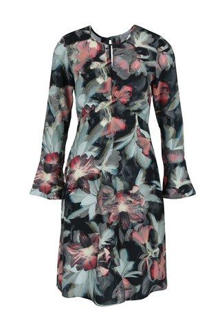 Rochie neagra cu model floral si maneci tip clopot Closet