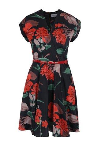 Rochie neagra cu model floral si decolteu suprapus Closet
