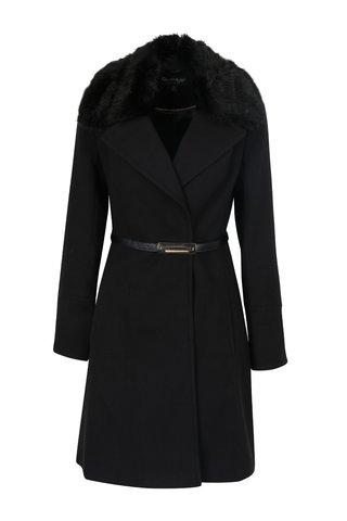 Palton negru cu guler din blana artificiala Miss Selfridge