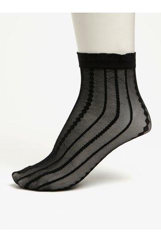 Černé průsvitné vzorované ponožky Pieces Crille