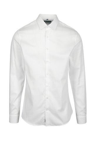Bílá formální super slim fit košile s jemným vzorem Braiconf Costin