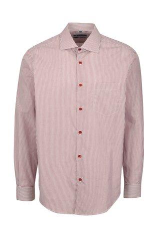 Bílo-vínová formální pruhovaná slim fit košile Braiconf Flaviu