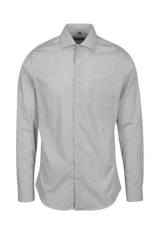 Bílo-hnědá pruhovaná formální super slim fit košile s výraznými knoflíky Braiconf Flaviu