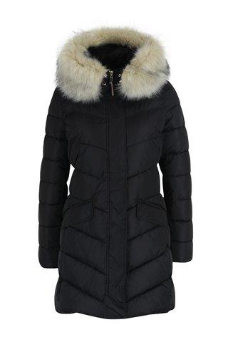 Černý dámský prošívaný kabát s odepínatelným kožíškem Geox