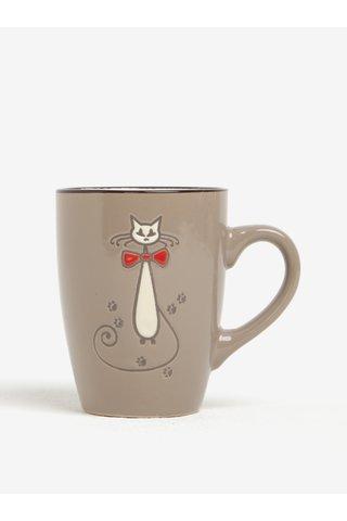 Světle hnědý keramický hrnek s motivem kočky Dakls