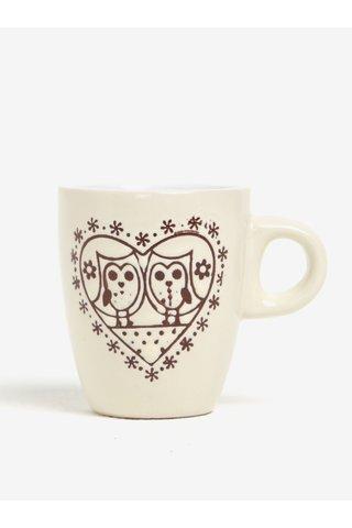 Cana crem din ceramica cu print bufnite Dakls