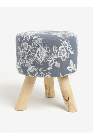 Scaunel gri cu print floral si picioare din lemn Dakls