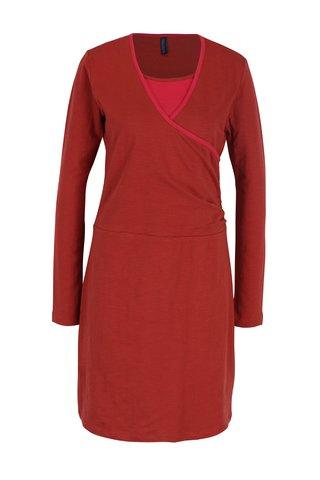 Rochie caramizie cu garnitura roz Tranquillo Vivi