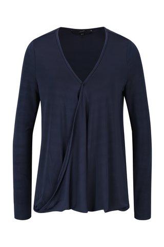 Bluza albastru inchis cu decolteu suprapus VERO MODA Jennie