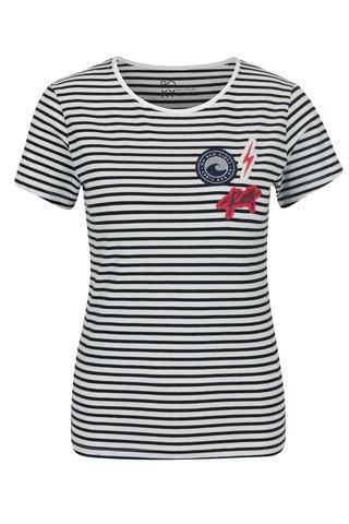 Tricou cu dungi albastru & negru si aplicatii -  Taffy Crab Patches