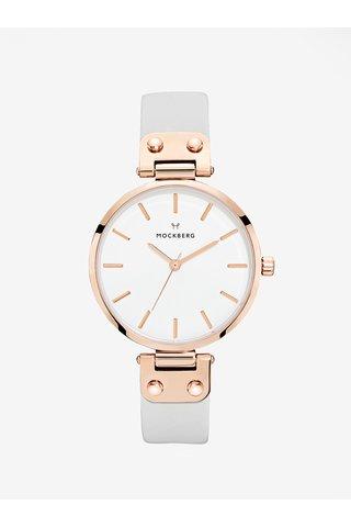 Dámské hodinky v růžovozlaté barvě s šedým koženým páskem MOCKBERG Alice