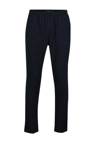 Pantaloni chino bleumarin in dungi cu talie elastica SUIT Saxo