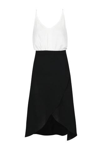 Rochie asimetrica alb-negru cu bretele Ax Paris